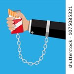 tobacco abuse concept. pack of... | Shutterstock .eps vector #1075085321