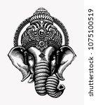 ganesha vector tattoo design | Shutterstock .eps vector #1075100519