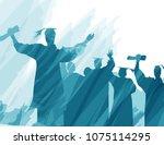 graduation in silhouette in...   Shutterstock .eps vector #1075114295