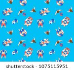 people swimming in pool... | Shutterstock .eps vector #1075115951