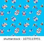 people swimming in pool... | Shutterstock .eps vector #1075115951