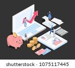 realistic bitcoin  digital... | Shutterstock .eps vector #1075117445
