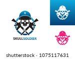 skull soldier logo template... | Shutterstock .eps vector #1075117631