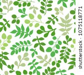 seamless pattern with leaf.... | Shutterstock .eps vector #1075118771