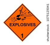adr 1 explosives transport sign ... | Shutterstock .eps vector #1075125041