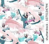 french bulldog on skateboard ... | Shutterstock .eps vector #1075134794