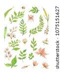 beautiful flower frame vector... | Shutterstock .eps vector #1075151627