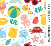 cute seamlless pattern with sea ... | Shutterstock .eps vector #1075157669