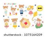 big set of cute little girls ... | Shutterstock .eps vector #1075164209