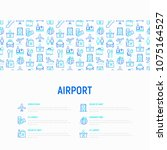 airport concept with thin line... | Shutterstock .eps vector #1075164527