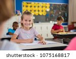 portrait of cute little school... | Shutterstock . vector #1075168817