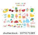 big set with cute summer icon | Shutterstock .eps vector #1075171385