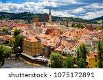 view of city cesky krumlov ... | Shutterstock . vector #1075172891