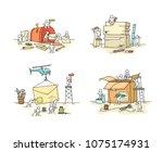 set of sketch little people... | Shutterstock .eps vector #1075174931