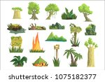 tropical jungle landscape set ... | Shutterstock .eps vector #1075182377