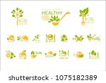 set of healthy food and drinks... | Shutterstock .eps vector #1075182389