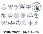 vector set of vintage logos for ... | Shutterstock .eps vector #1075182449