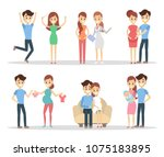 pregnancy people set. happy... | Shutterstock .eps vector #1075183895