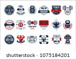 vector set of original gym logo ... | Shutterstock .eps vector #1075184201