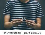 man refusing cigarettes concept ...   Shutterstock . vector #1075185179