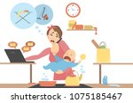 isolated tired multitasking... | Shutterstock .eps vector #1075185467