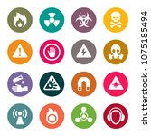 hazard signs icon set | Shutterstock .eps vector #1075185494
