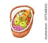 basket for a picnic  vector...   Shutterstock .eps vector #1075188101