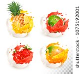 collection of fruit in a milk... | Shutterstock .eps vector #1075192001