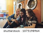 group of diverse female friends ... | Shutterstock . vector #1075198964