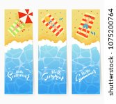 set of three summer cards with...   Shutterstock .eps vector #1075200764