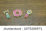 cookies pattern set on... | Shutterstock . vector #1075200971