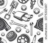 monochrome seamless pattern... | Shutterstock .eps vector #1075202687