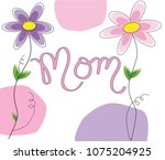 mothers day mom lettering | Shutterstock .eps vector #1075204925