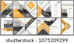 abstract white a4 brochure... | Shutterstock .eps vector #1075209299