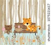 brown green pastel greeting...   Shutterstock .eps vector #1075221617