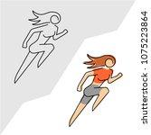 running woman logo. line style...   Shutterstock .eps vector #1075223864