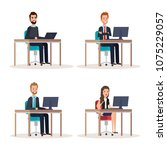 group of people human resources | Shutterstock .eps vector #1075229057