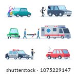 accident on the road. cars... | Shutterstock .eps vector #1075229147