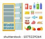 empty refrigerator and... | Shutterstock .eps vector #1075229264