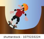 a youngster skating at a skate... | Shutterstock .eps vector #1075233224
