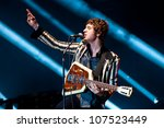 Small photo of TRENCIN,SLOVAKIA - JULY 6: Luke Pritchard of the Kooks performs at the Bazant Pohoda Music Festival at the Trencin Airport in Trencin, Slovakia on July 6, 2012.