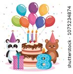happy birthday card with bear... | Shutterstock .eps vector #1075234874