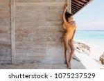 good looking young woman wears... | Shutterstock . vector #1075237529