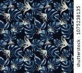 tropical exotic botanical grey... | Shutterstock .eps vector #1075238135