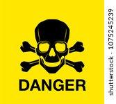 vector skull danger sign   Shutterstock .eps vector #1075245239