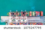 aerial top view container cargo ... | Shutterstock . vector #1075247795