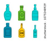 rum bottle icon set. color... | Shutterstock .eps vector #1075248929