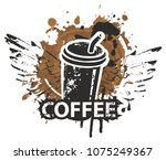 vector banner on coffee theme... | Shutterstock .eps vector #1075249367