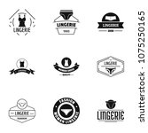 linen logo set. simple set of 9 ... | Shutterstock .eps vector #1075250165