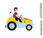 man with luggage towing vehicle ... | Shutterstock .eps vector #1075253834